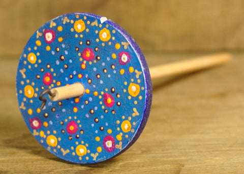 Painted Wooden Drop Spindle, Top Whorl, Blue Dots