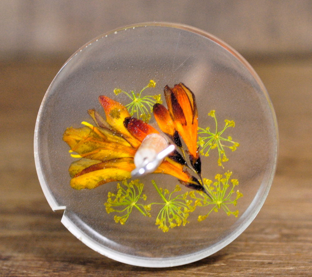 Botanical Top Whorl Resin Drop Spindle - Crocosmia and Gypsohila