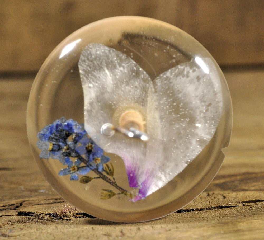 Resin Drop Spindle - Cyclamen and Forget-me-not