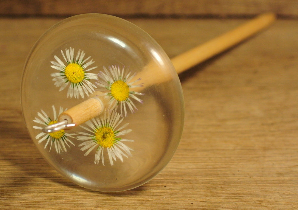 Resin Drop Spindle - Daisies.