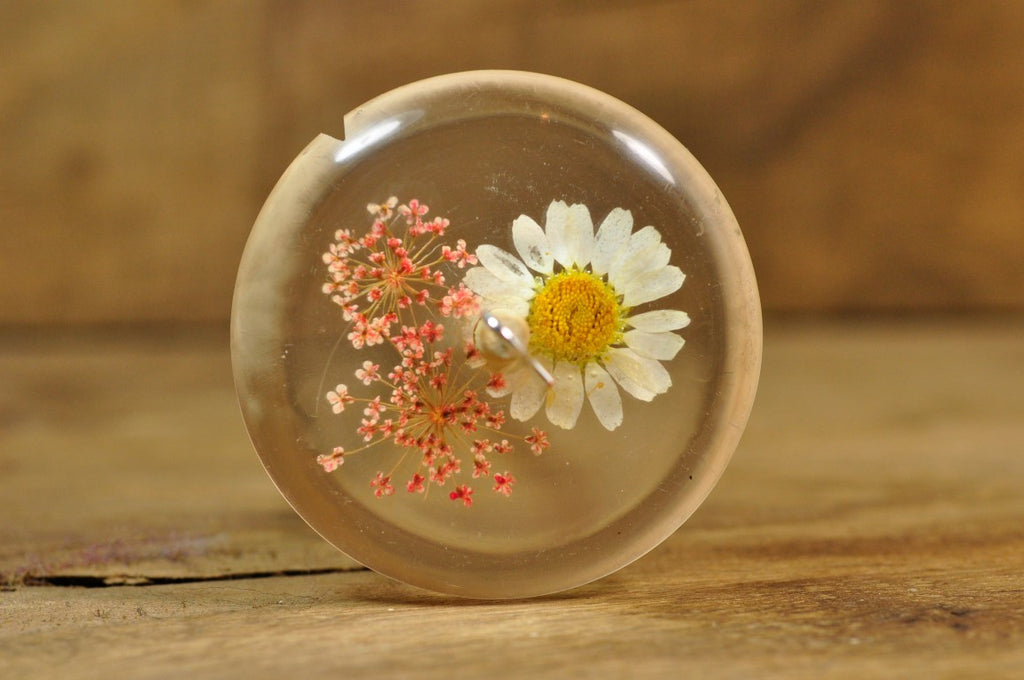 Resin Drop Spindle - Daisy and Pink Lace Flower