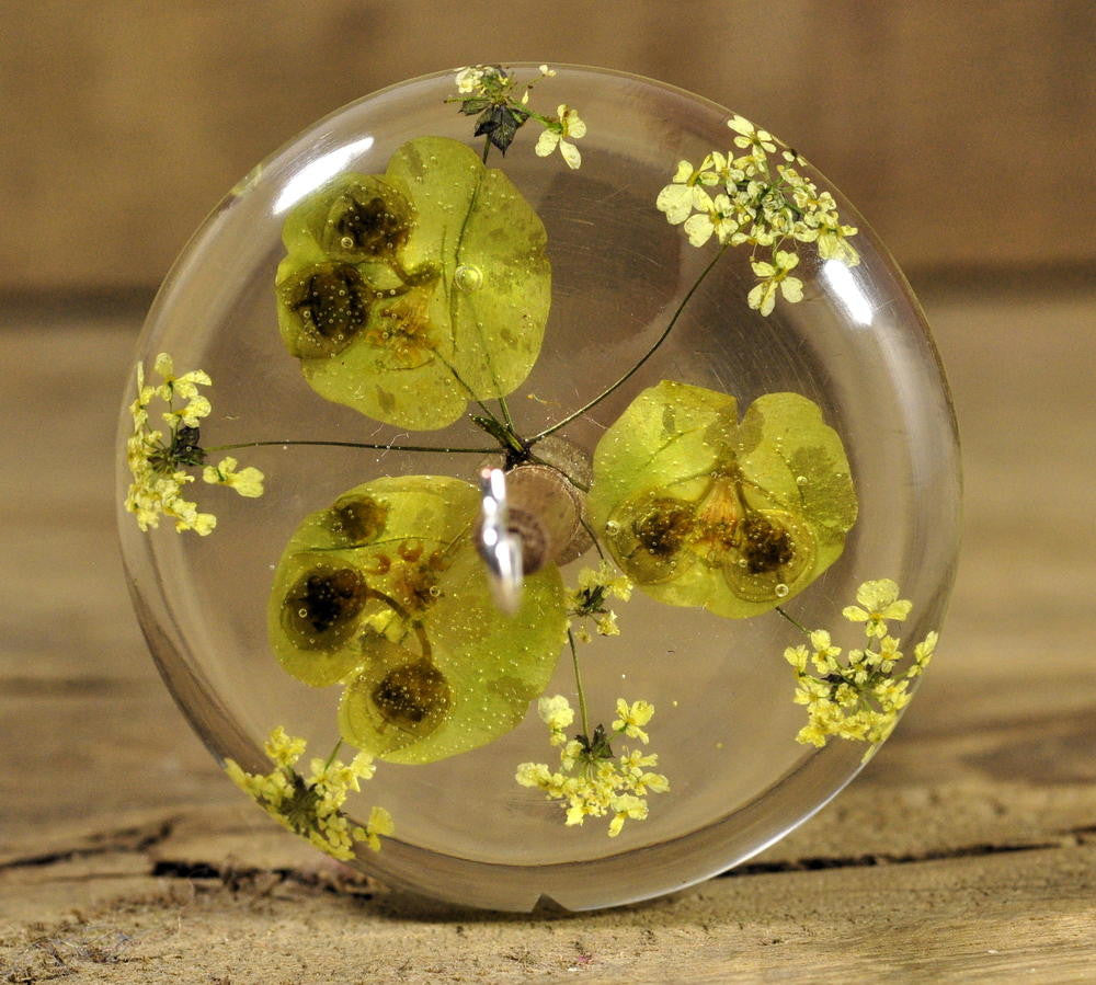 Resin Drop Spindle - Euphorbia and Cow Parsley