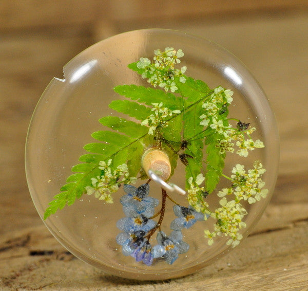 Resin Drop Spindle - Fern and Forget-me-not
