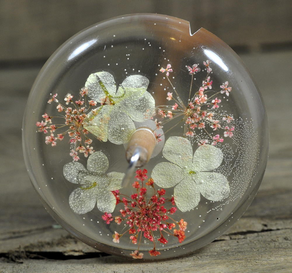Resin Drop Spindle - Guelder Rose and Pink Lace Flowers