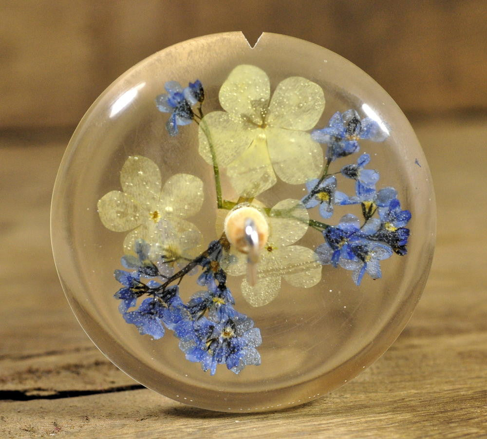 Resin Drop Spindle - Guelder Rose and Forget-me-not