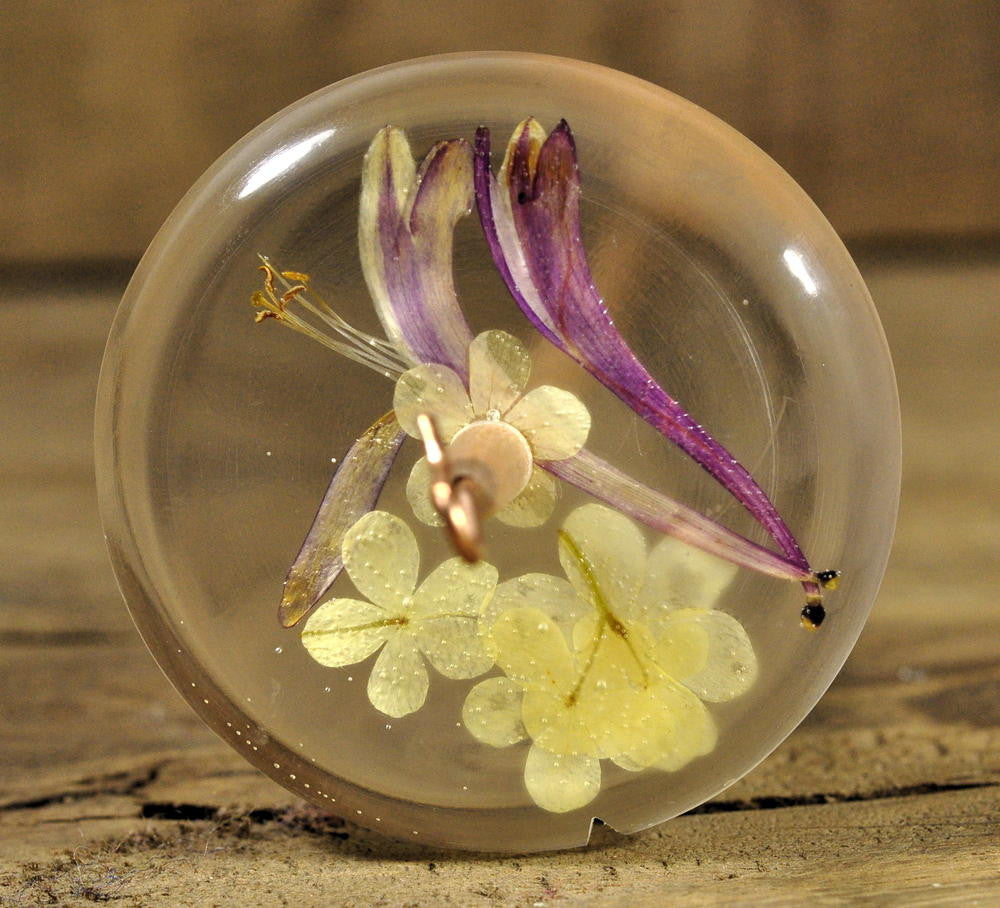 Resin Drop Spindle - Honeysuckle and Guelder Rose