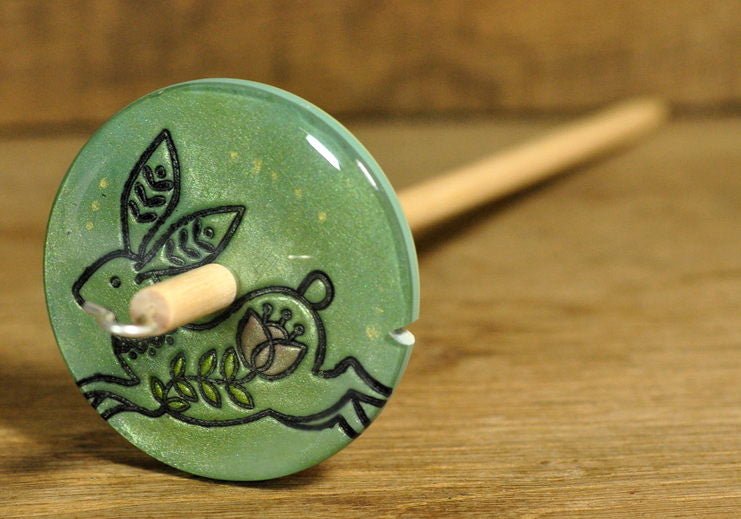 Handmade Drop Spindle - Hare Design (Small)
