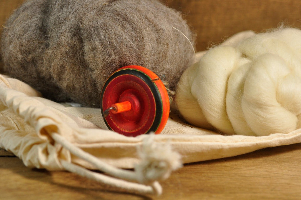 Beginner's Drop Spindle Kit - Orange Striped