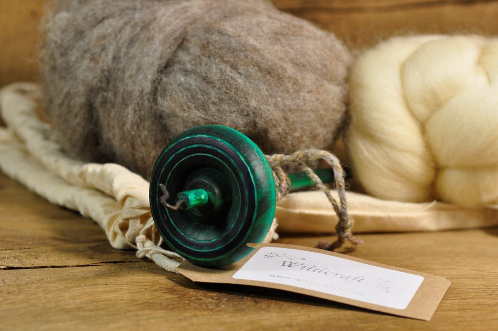 Beginner's Drop Spindle Kit - Turquoise Striped