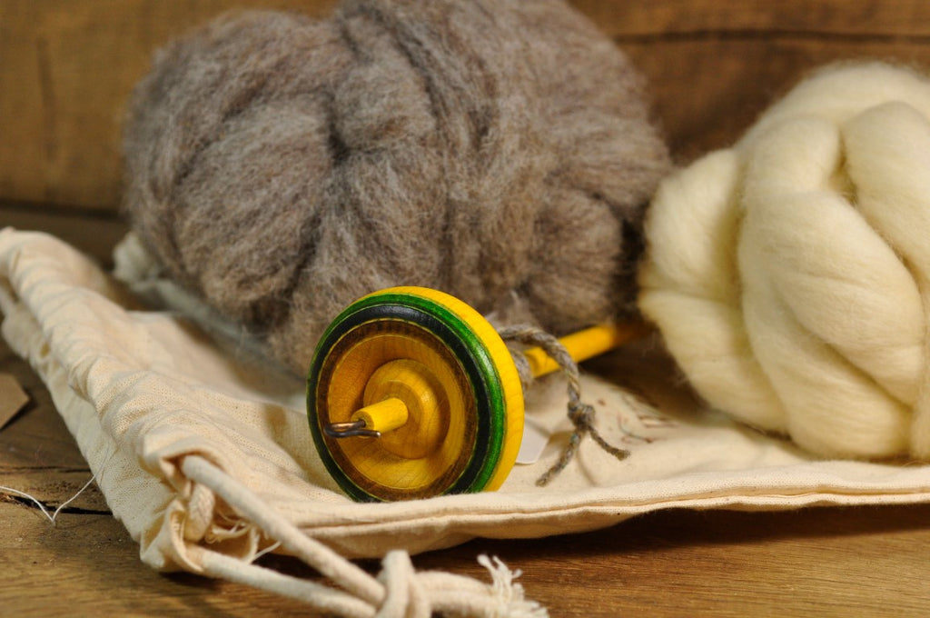 Beginner's Drop Spindle Kit - Yellow/Green Striped