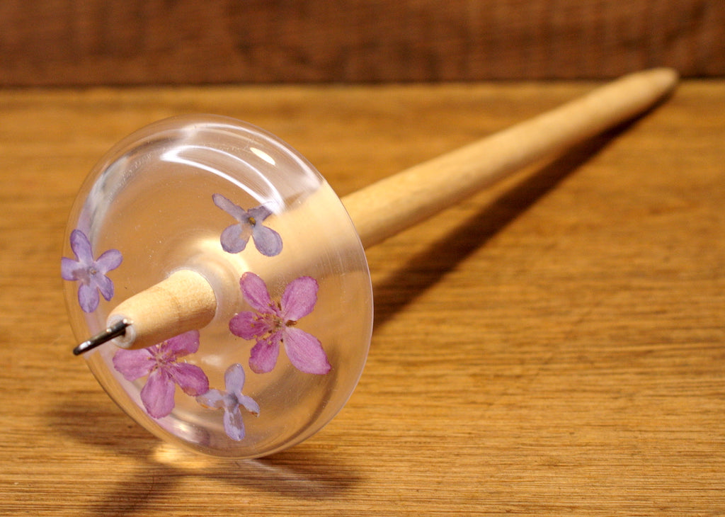 New Design Botanical Top Whorl Resin Drop Spindle - Lilac Mix