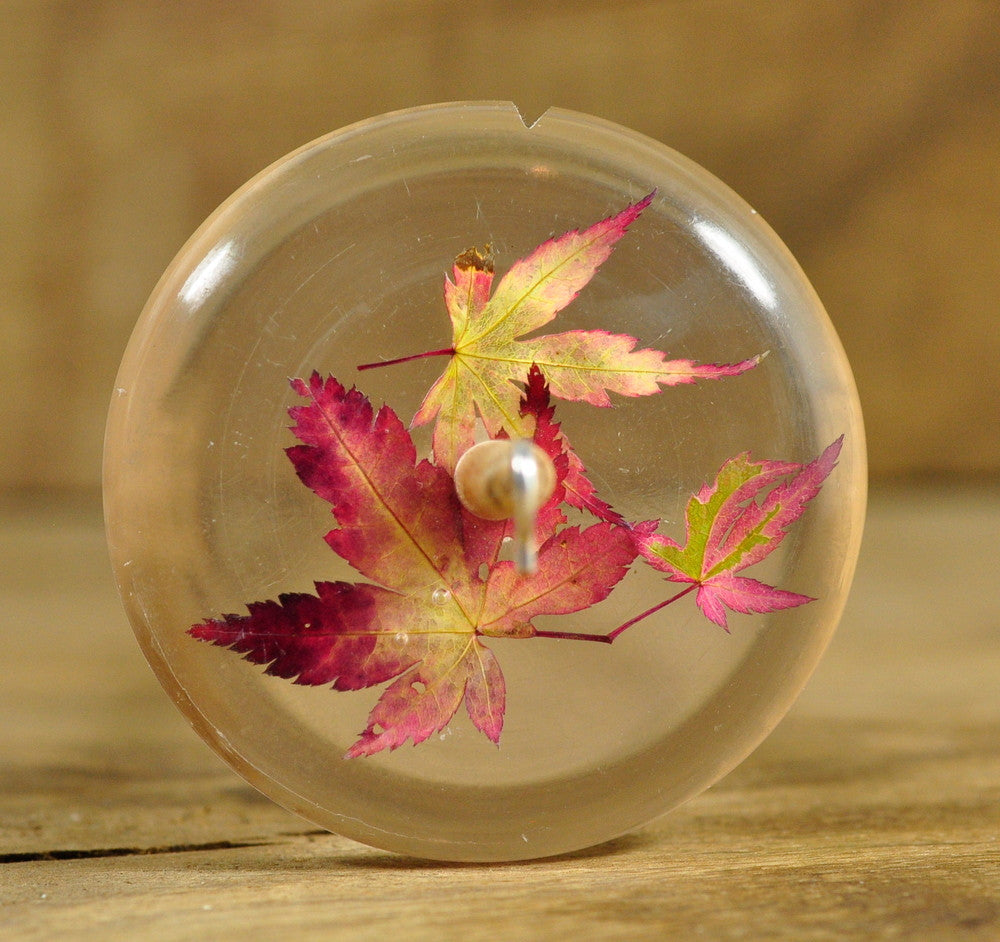 Resin Drop Spindle - Maple Leaves (2)