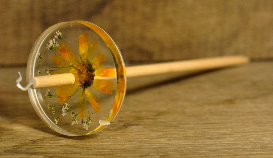 Botanical Top Whorl Resin Drop Spindle - Calendula Marigold and Gypsophila