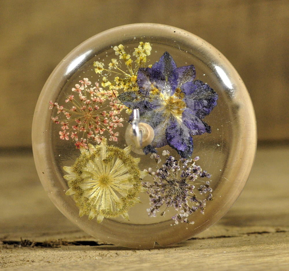 Resin Drop Spindle - Mixed Garden Flowers