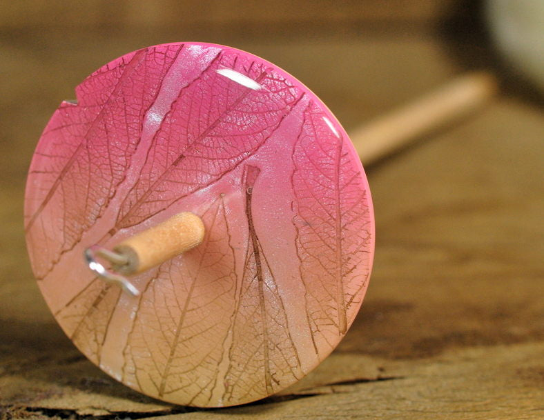 Handmade Drop Spindle - Pink/Cream Leaf Design (Small)