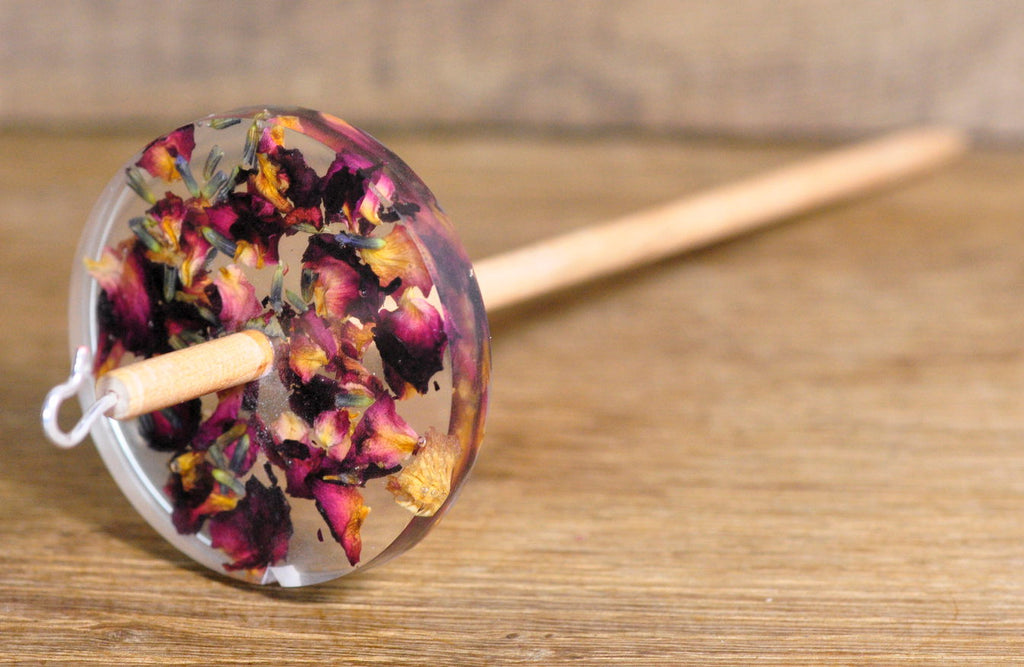 Botanical Top Whorl Resin Drop Spindle - Rose Potpourri