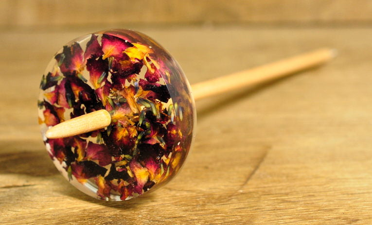 Botanical Low Whorl Resin Drop Spindle - Rose Potpourri