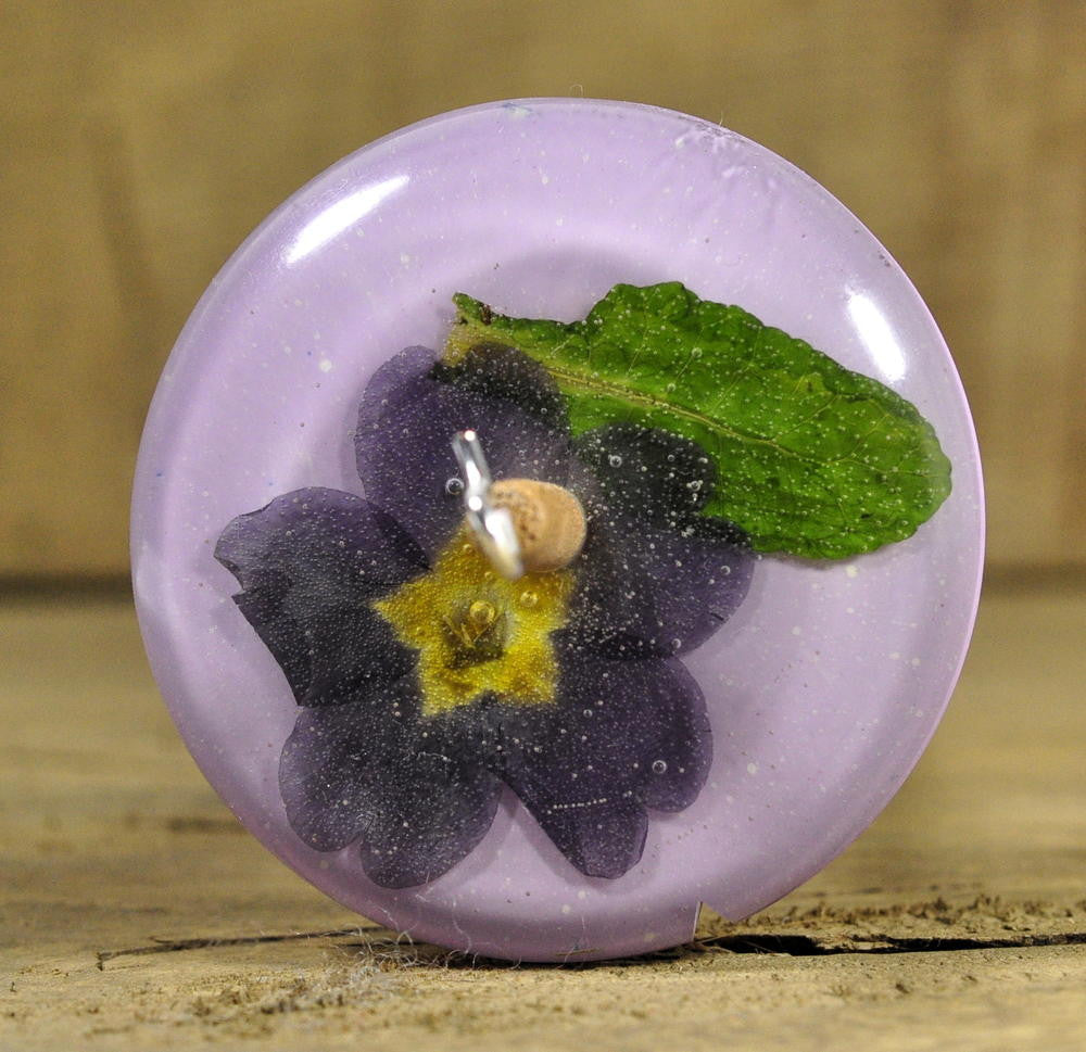 Resin Drop Spindle - Primula on Purple