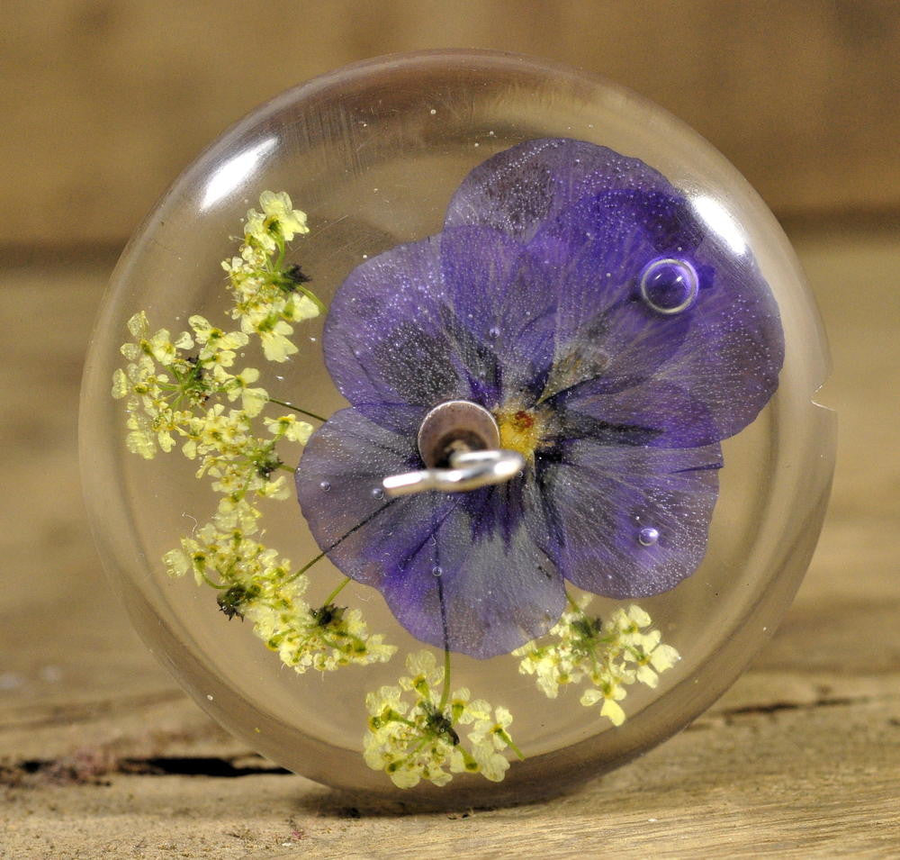 Resin Drop Spindle - Purple Violas