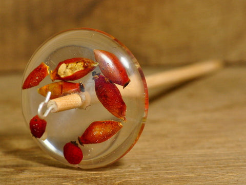 Resin Drop Spindle - Rose Hips