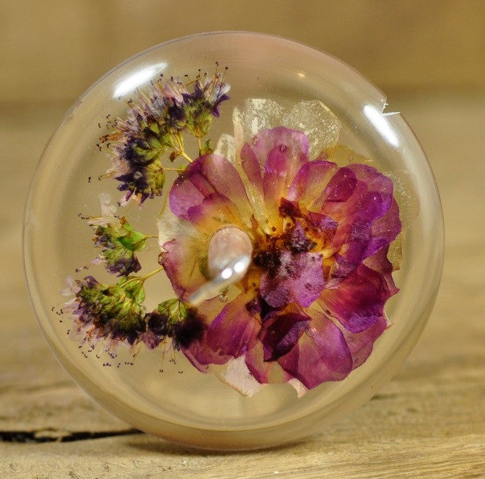 Resin Drop Spindle - Rose and Marjoram