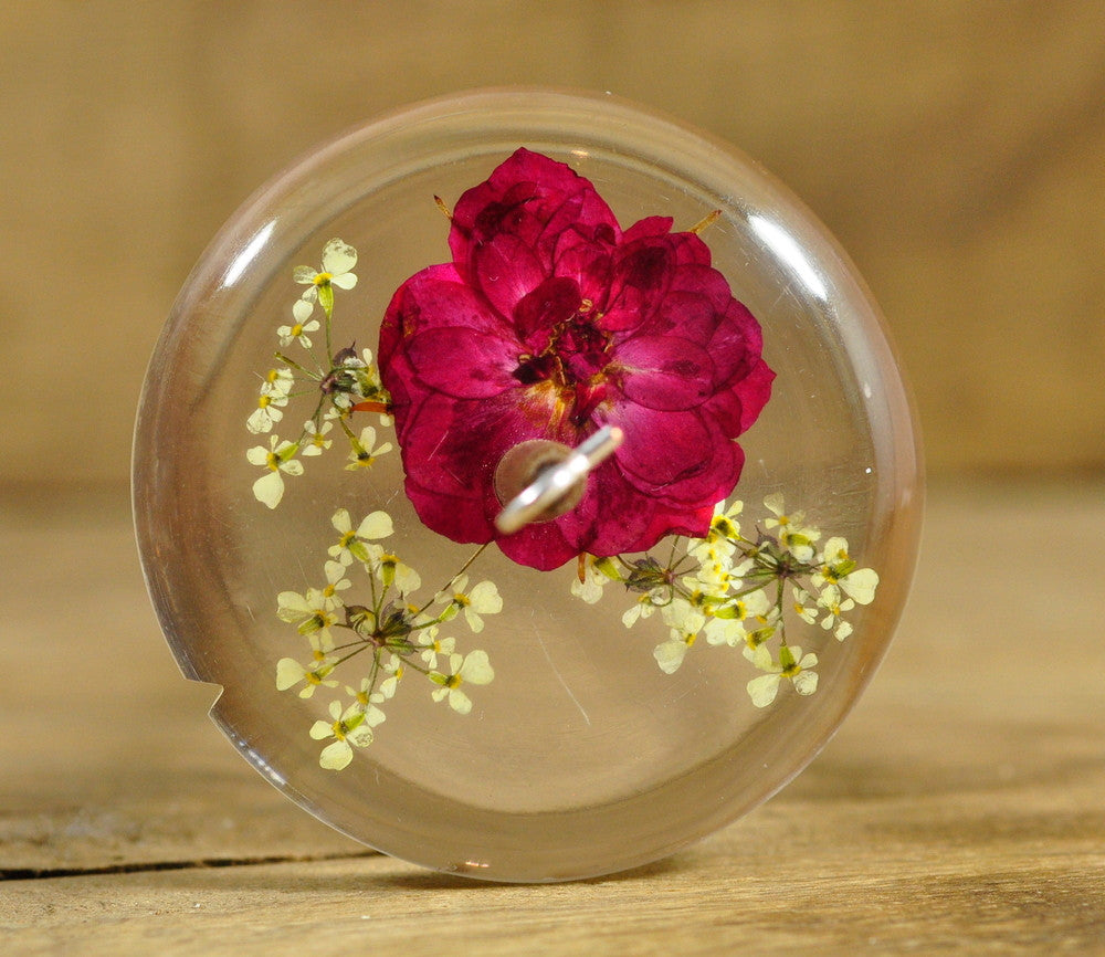 Resin Drop Spindle - Red Rose and Cow Parsley