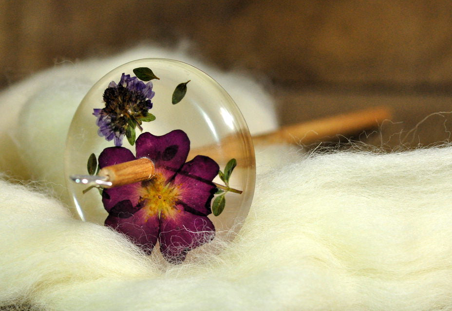 Botanical Top Whorl Resin Drop Spindle - Rose and Thyme Blossom