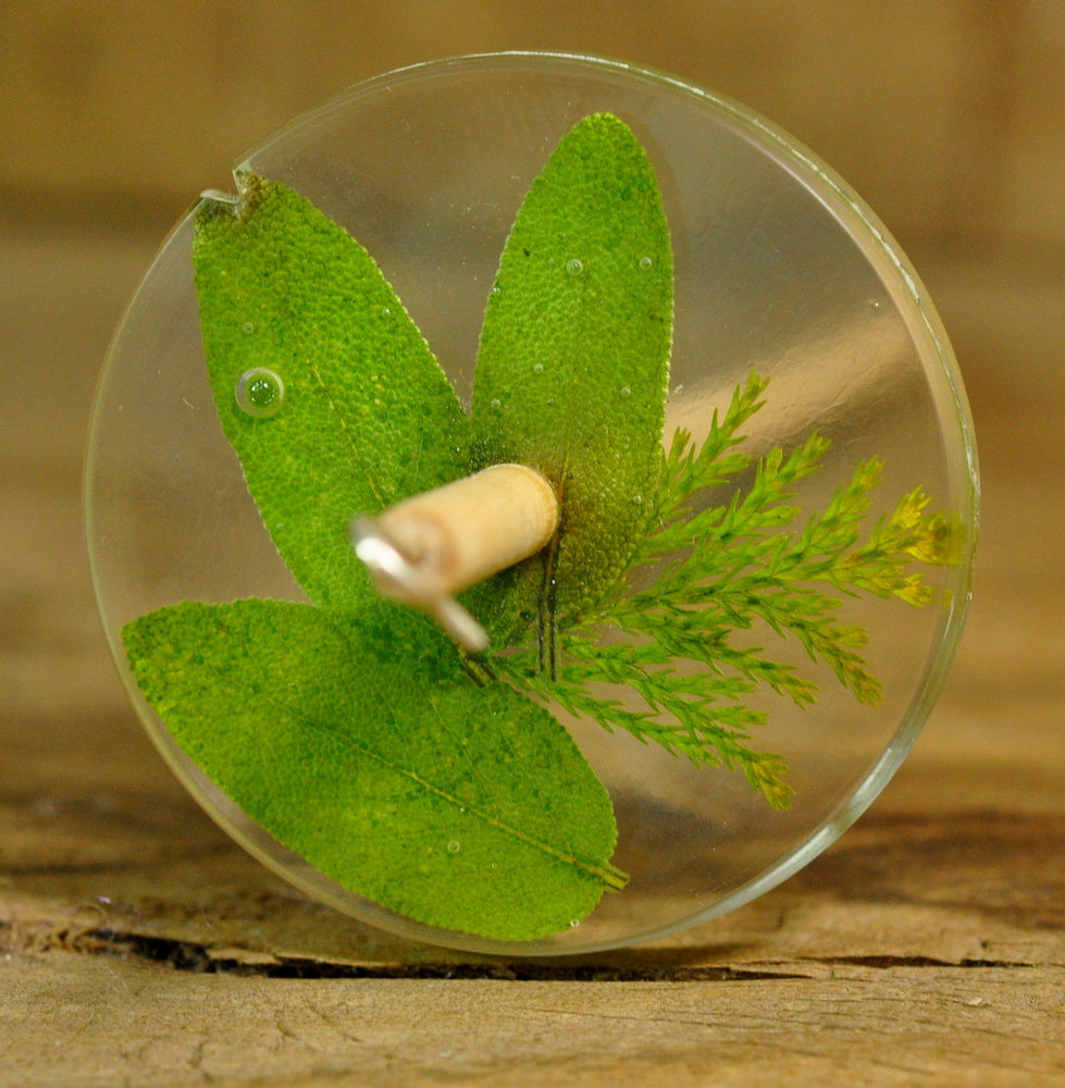 Resin Drop Spindle - Sage and Cypress Leaves