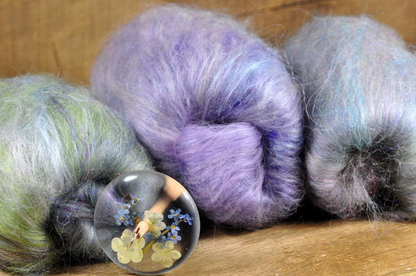 Resin Spindle and Batt Set - Forget-me-not