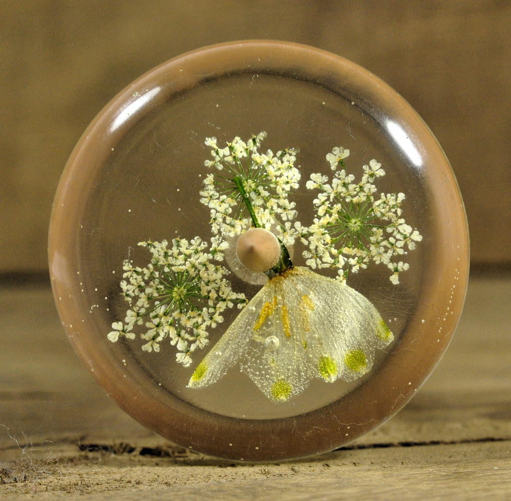 Resin Drop Spindle - Snowflake and Cow Parsley