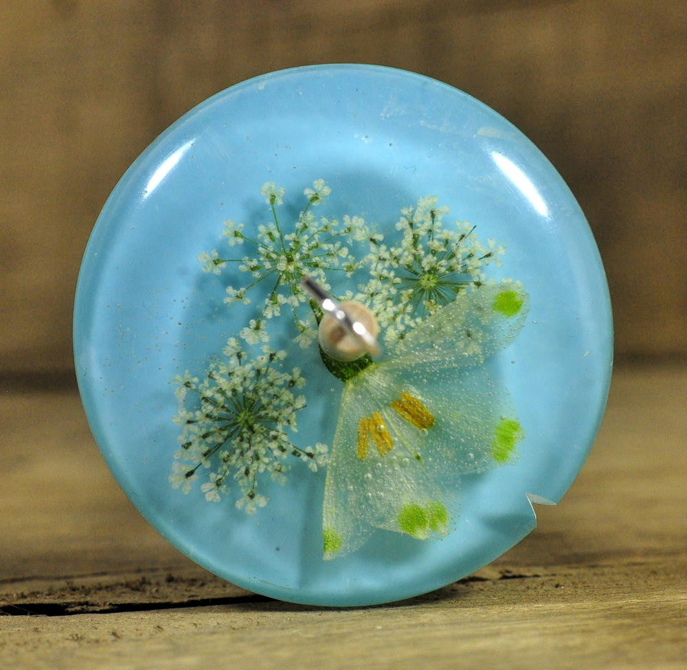 Low Whorl Resin Drop Spindle - Snowflake and Cow Parsley