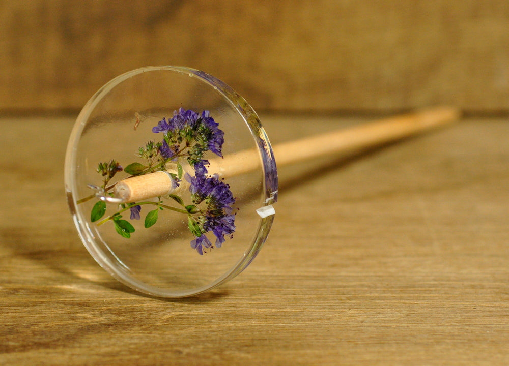 Resin Drop Spindle - Garden Thyme Flowers