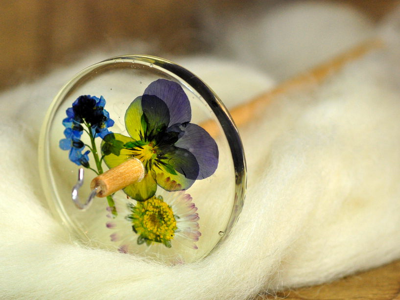 Botanical Top Whorl Resin Drop Spindle - Viola, Daisy and Forget-Me-Not