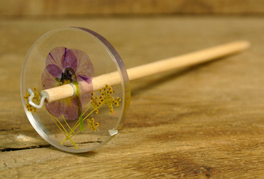 Resin Drop Spindle - Viola and Fennel