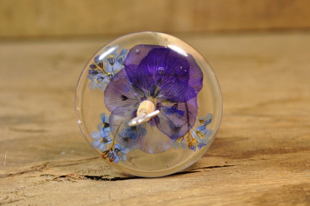 Resin Drop Spindle - Pansy and Forget-Me-Not - Shorter Shaft