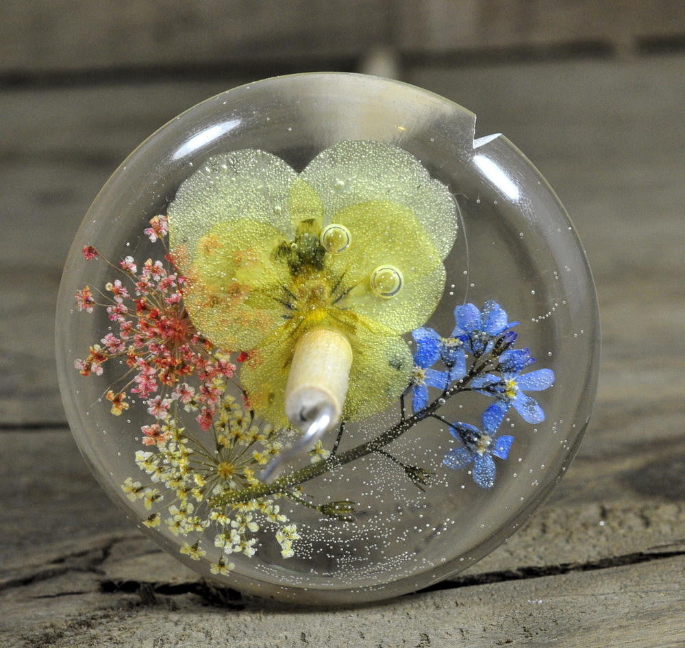Resin Drop Spindle - Viola and Forget-me-nots