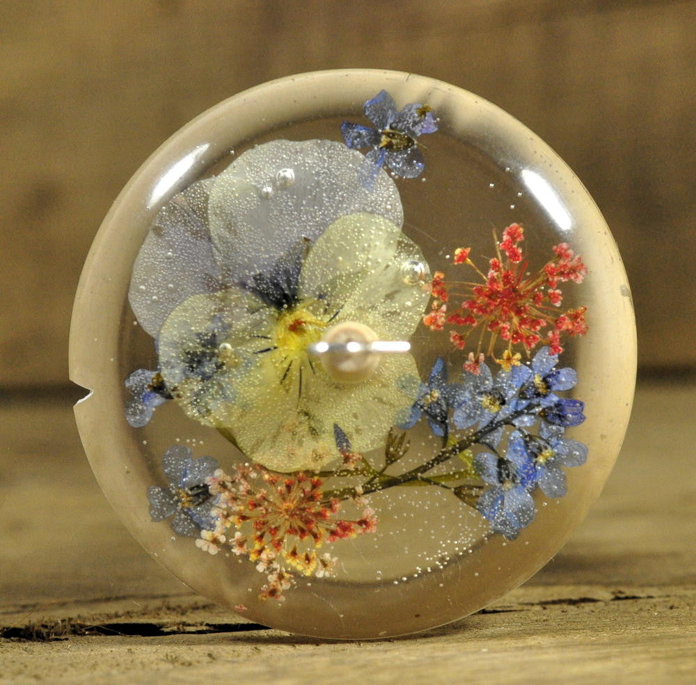 Resin Drop Spindle - Viola and Forget-me-not