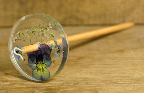 Botanical Top Whorl Resin Drop Spindle - Viola, Forget-Me-Not and Gypsophila