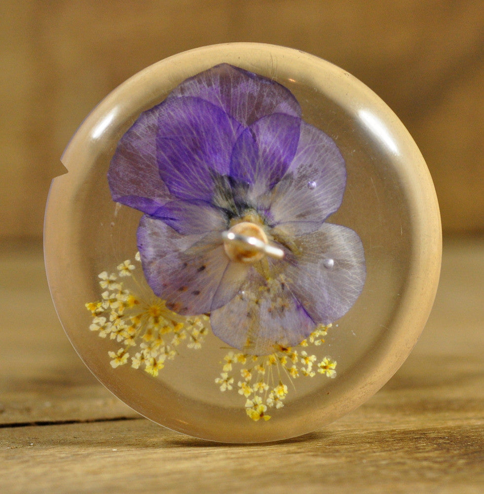 SALE Resin Drop Spindle - Viola and White Lace Flowers