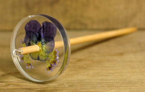 Botanical Top Whorl Resin Drop Spindle - Viola and Yarrow