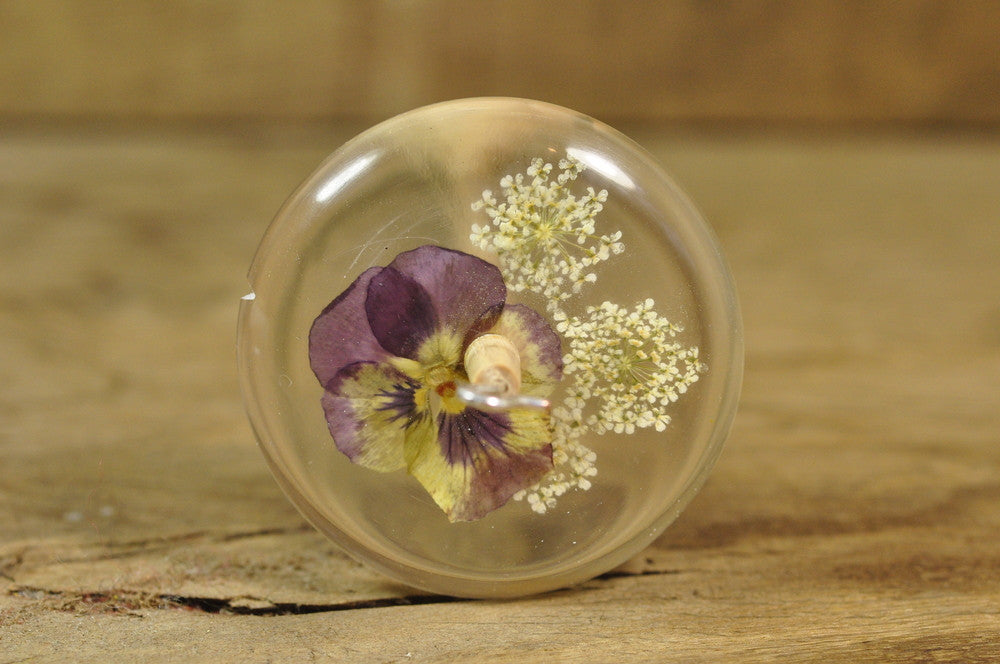 Resin Drop Spindle - Viola and White Lace Flower