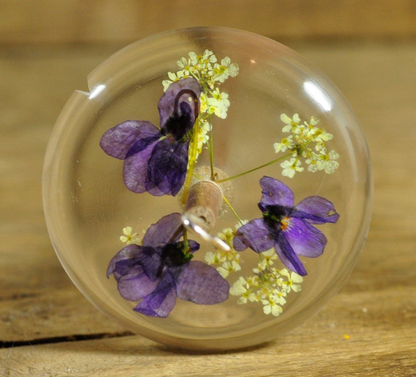 Resin Drop Spindle - Violets and Cow Parsley