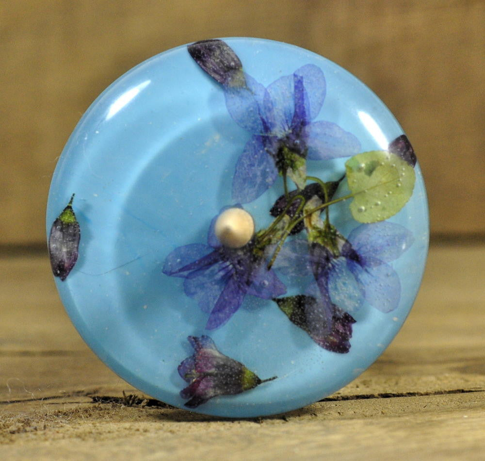 Low Whorl Resin Drop Spindle - Violets and Flowering Currant