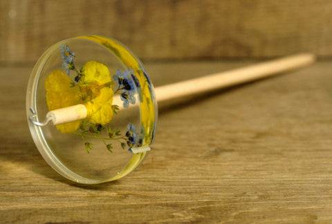 Botanical Top Whorl Resin Drop Spindle - Wallflower and Forget Me Not