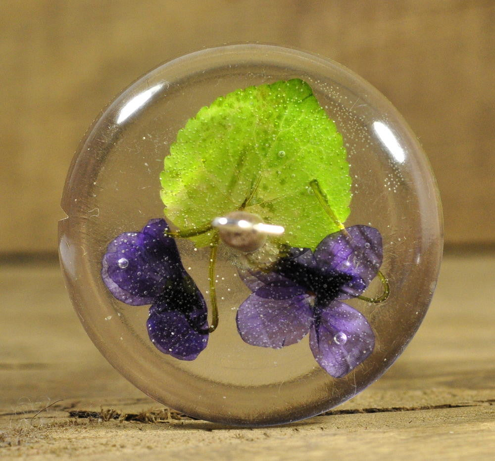 Resin Drop Spindle - Wood Violets