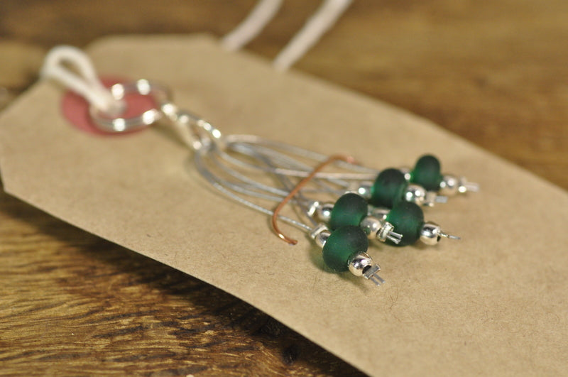 SALE! Lampwork Stitch Marker Set - Bottle Green