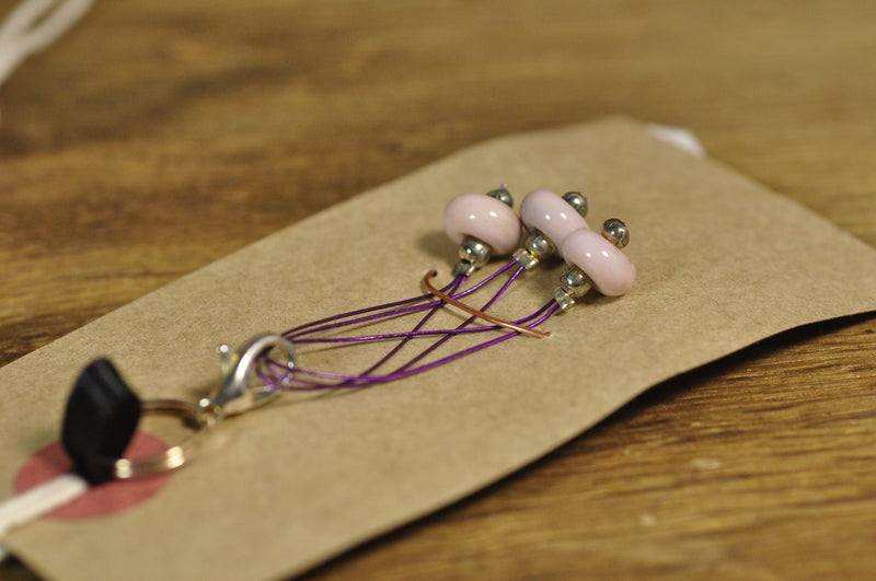 SALE! Lampwork Stitch Marker Set - Dusty Pink
