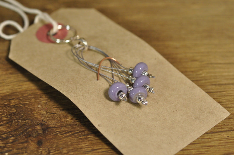 SALE! Lampwork Stitch Marker Set - Lilac