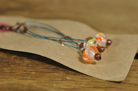 SALE! Lampwork Stitch Marker Set - Orange/Clear