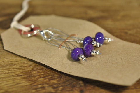 SALE! Lampwork Stitch Marker Set - Purple